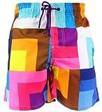 SHIWI® Badeshorts Boardshorts Strandshorts Shorts Badehose gelb weiß rot blau braun Größe XL
