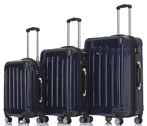 BEIBYE Zwillingsrollen 2048 Hartschale Trolley Koffer Reisekoffer in M-L-XL-Set in 17 Farben (Dunkelblau, SET)