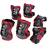 Generic Kid Cycling Roller Skating Knee Elbow Wrist Protective Pads - Black And Red
