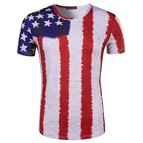 Whatlees Herren Casual Stars and Strips Drucken Slim Fit Independence day 4th of july 4 Gym T-Shirts B056-34-XL (Day Independence T-shirts)