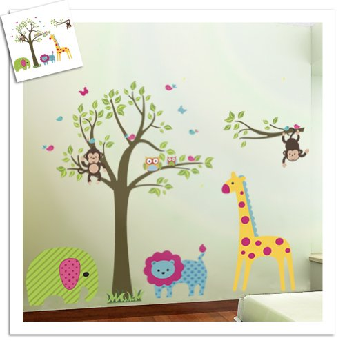 Blansdi PVC Cartoon Natura Verde Albero animale