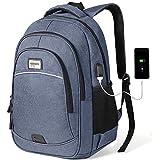 KUSOOFA Business Rucksack, Herren Rucksack mit USB-Ladeanschluss, Schulrucksack für 15,6 Zoll Laptop Notebook Tablet Rucksack für Schule Arbeit(Blau)