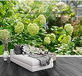 Wxlsl Garten-Fernsehwand Der Kundenspezifischen Hortensie Der Tapete 3D Moderne Minimalistische Sofahintergrundwand-300Cmx210Cm