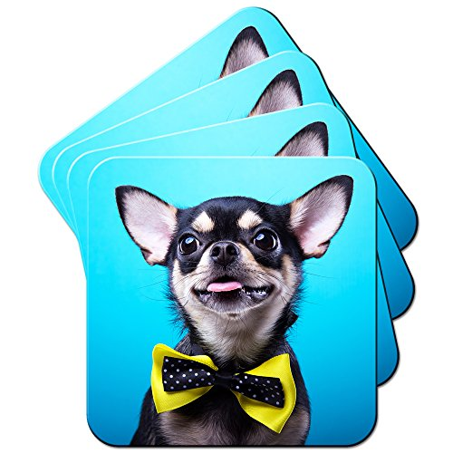 chihuahua-mexicain-taco-bell-dessous-de-verre-chien-lot-de-sous-verres-chihuahua-wears-yellow-bow-ti