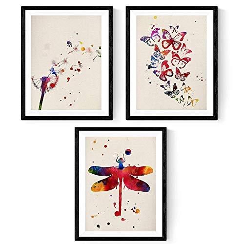 PACK de láminas para enmarcar NATURA. Posters estilo acuarela con imágenes de la naturaleza. Decoración de hogar. Láminas para enmarcar. Papel 250 gramos alta calidad