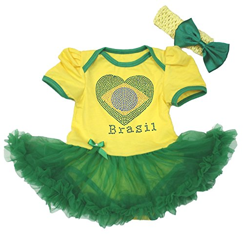 Brazil Heart Yellow Bodysuit Green Tutu Romper Baby Dress Girl Clothing Nb-18m (0-3 Monats)