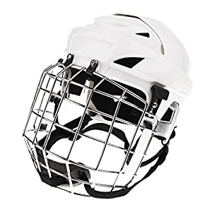 Toygogo Eishockey Helm Unisex Erwachsene Helm Mit Gitter Eishockeyhelm Schutzhelm, Weiß