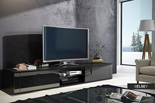 Elegant – TV-Lowboard / TV-Bank / Fernsehschrank (140 cm, Schwarz Matt / Schwarz Hochglanz)