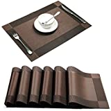 Placemat,U'artlines Brown Crossweave Woven Vinyl Non-slip Insulation Placemat Washable Table Mats Set of 6 by U'Artlines