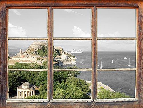 Agio Möbel (Stil.Zeit Möbel kleine Aussicht auf Agios Mattheos schwarz/weiß, Fenster 3D-Wandsticker Format: 62x42cm Wanddekoration 3D-Wandaufkleber Wandtattoo)