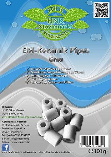 VITASEM Steviamarkt EM Keramik Pipes 100 Gramm, ca. 65-80 Stück in Grau + EM Keramik Info-online   Mikroorganismen - Wasserbereitung & Energetisierung 100% Keramik