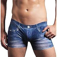 lhxyx Mens Briefs Sports-Inspired Loom Men's Boxer Brief Men's Underwear Denim Briefs, Blue, XXL