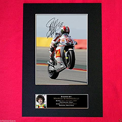 MARCO SIMONCELLI MEMORIAL EDITION reproduction autograph Photo Signed Display