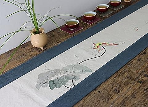 GGCCX Baumwolle Und Leinen Handgemalte Zen Tee Tischläufer
