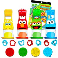 ‏‪Sesame Street Elmo Party Favor Set for Toddlers Kids ~ 24-Pc Bundle with Clay Dough, Dough Roller, Molds, and Stickers (Party Supplies)‬‏