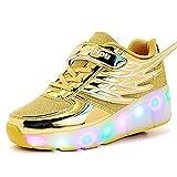 Kinder Schuhe mit Rollen Mesh Skateboardschuhe LED Schuhe Rollschuhe Outdoor Fitnessschuhe Gymnastik Sneaker Turnschuhe Sportschuhe Laufschuhe für Junge Mädchen Gold 35