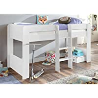 Froschkönig24 Hochbett ANDI 1 Kinderbett Spielbett halbhohes Bett Weiß preisvergleich bei kinderzimmerdekopreise.eu
