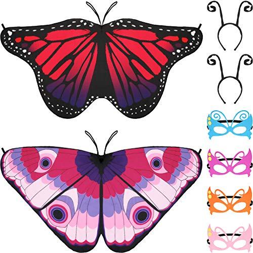 Gejoy 8 Stücke Kinder Schmetterling Kostüm, Enthalten Schmetterling Flügeln, Maskerade Masken und Antennen Stirnband für Halloween Ankleiden Party (Farbe Set - Maskerade Kostüm Kinder