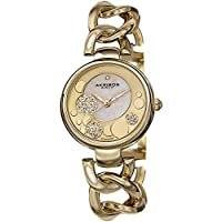 Akribos XXIV Women's Gold Diamond Watch - Mother of Pearl Dial with Sunburst Border and Applied Circles with Genuine Crystal Pave - Jewelry Chain Link Bracelet - AK678