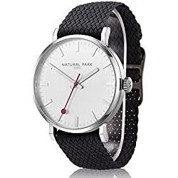 Men Sport Casual Watches with White Dial Black Nylon Watch Bands