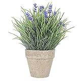 WINOMO Künstliche Blumen Plastik Lavendel Arrangements in Töpfen für Haus Gartendekoration (blau)