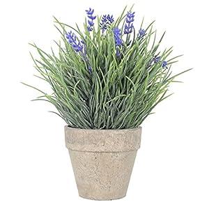 WINOMO Flores Artificiales Plástico Lavanda Arrangements en macetas para casa jardín decoración (Azul)