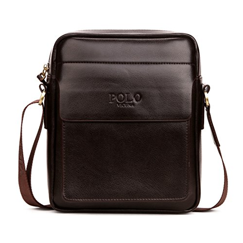 VICUNA POLO , Borsa Messenger  nero black 8.26*9.44*2.75inch brown