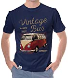 Herren T-Shirt - Vintage Bus - Since 1950 Dunkelblau-Hellbraun XL