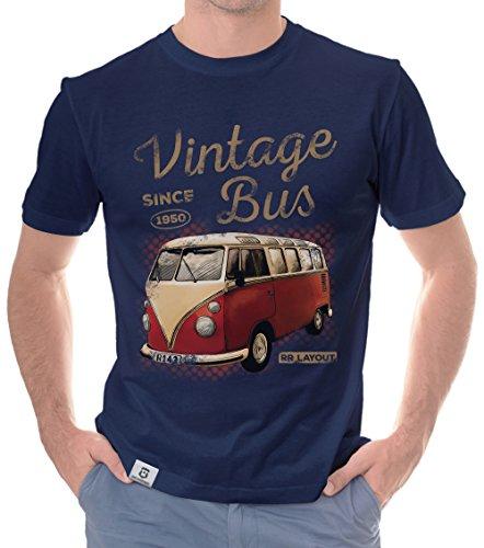 Herren T-Shirt - Vintage Bus - Since 1950 dunkelblau-Hellbraun XXL