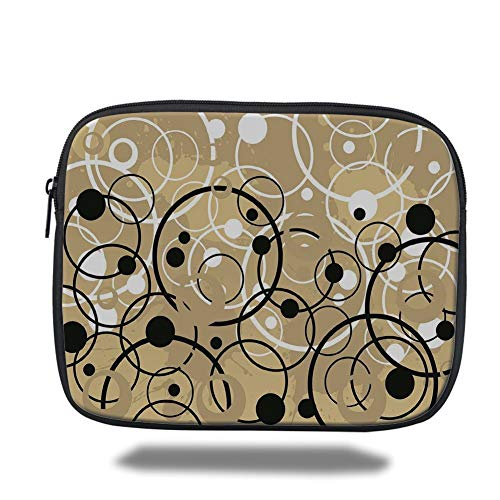 Tablet Bag for Ipad air 2/3/4/mini 9.7 inch,Tan,Funky Grungy Composition with Circles and Dots Retro Artistic Imaginative Print,Black White Tan 4 Funky Dots