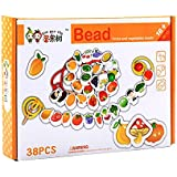 Baybee Premium Fruits And Vegetables Lacing & Stringing Beads | Wooden Educational Toys To Stimulate Brain Development & Fine Motor Skills | Classic Toys