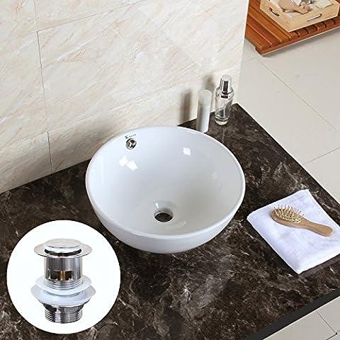 Round Bowl Bathroom Porcelain Vessel Sink White Ceramic Basin + Free Drain