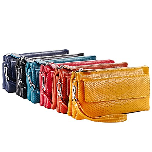 GSPStyle Damen Leder Schultertasche Clutches Handtasche Umhängetaschen Reißverschluss Cross Body Stil Blau
