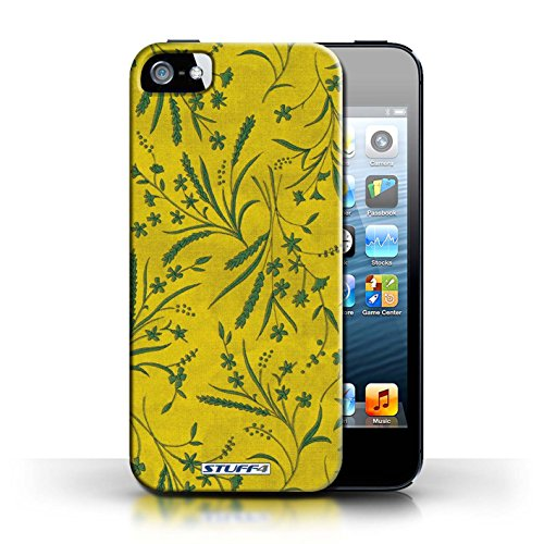 Printed hard back case for Apple iPhone 5/5S / Wheat Floral Pattern collection / Purple/Pink Jaune