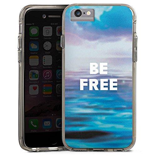 Apple iPhone 7 Plus Bumper Hülle Bumper Case Glitzer Hülle Freiheit Meer Mer Bumper Case transparent grau