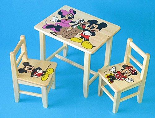 Set in legno tavolino con 2 sedie per cameretta bambini. m10. ottima idea regalo.completo in pino con disegno a mano.