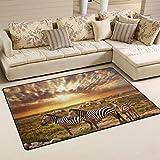 Coosun zèbres troupeau sur la savane africaine au coucher du soleil Zone Tapis Moquette antidérapant Tapis de sol Paillasson pour salon Chambre à coucher 78,7x 50,8cm, Tissu, multicolore, 60 x 39 inch
