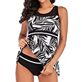 VEMOW Bikini Sets Elegante Damen Plus Size Print Tankini Swimjupmsuit Badeanzug Beachwear Gepolsterte Badebekleidung(Schwarz 2, EU-44/CN-4XL)