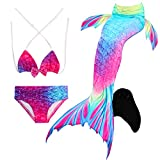 Le SSara Seemädchen Cosplay Bademode Mermaid Shell Badeanzug mit FIN Swimmable Mermaid Schwanz (120, JP136-Black)
