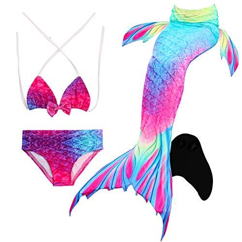 Fancy 3pcs Kids Mermaid Mermaid Tail Beach Swimsuit Cosplay Costume Kids Mermaid Bikini Setmermaid Tails Extremely Efficient In Preserving Heat Mother & Kids