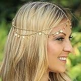 Kercisbeauty, fascia a catenina singola con pendagli, stile boho, per la testa, dorata con perline, accessorio per ballo, banchetto, festa, vacanza, spiaggia, matrimonio, Halloween