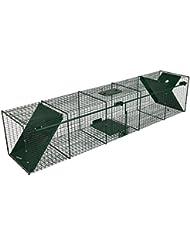 Trampa para animales vivos - gatos martas zorros - 150x32x32cm - De alambre robusto - 2 Entradas