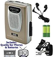 Retro Portable Personal Cassette Tape Player & Radio - inc Earphones �?? Built-In Speaker - inc Batteries (Exe VS-38 Package) (Gold (Inc Batteries & Power Adapter))