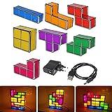 Leegoal Tetris Lampe Lampe, DIY Tetris lumière de Nuit 7 Couleurs empilables Puzzles 7 pièces LED Induction Verrouillage Lampe 3D Jouets idéal pour Les décorations à la Maison