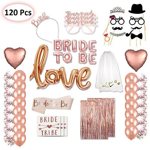 Tumao 120 Stück Verlobung Hochzeit Deko Bride to BE Roségold Folienballons ,Love Luftballons, Foto Booth Props, Junggesellinnenabschied Bachelorette Party Dekoration.
