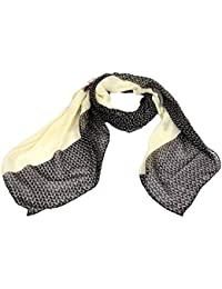 Calonice Amorino Damen Accessoire Grau Schwarz Pferde Muster Oberschicht transparentes Promi Halstuch Umhängetuch mit grauem Pferde Muster, eine Größe 180x01x110 cm (LxHxW) 30401