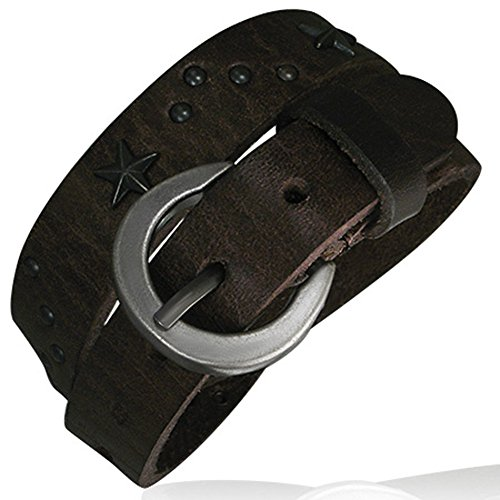 Zense - Genuine dark brown leather double wrap belt buckle bracelet ZB0123 (Double Wrap Belt)