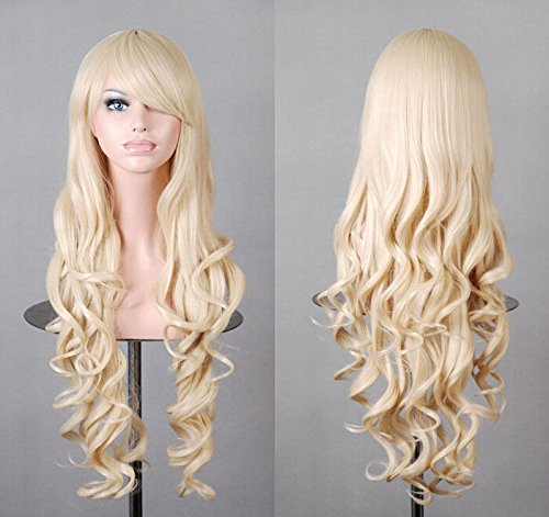 Beauty Smooth Hair 80cm Spiral Curly Cosplay Perücke (blond) (Cosplay Gerade Perücke Blonde)