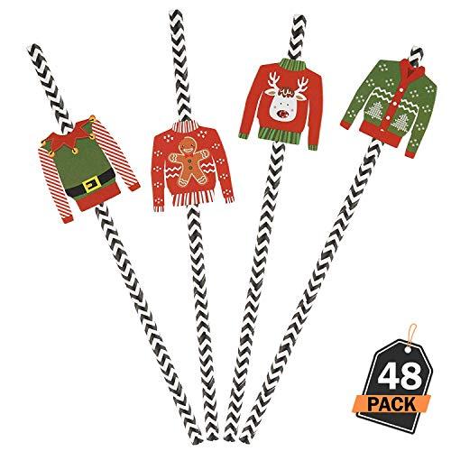 Kompanion 48 Stück hässliche Pullover Weihnachten Strohhalme Design Set, Holiday DIY Craft und Zubehör für Weihnachtsfeier