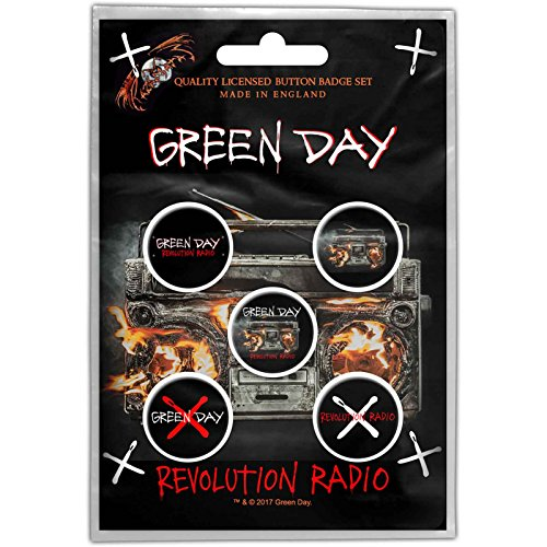 Green Day Badge Pack Revolution Radio Band logo Nue offiziell 5 x Pin Button - Green Hat Day